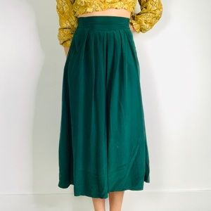 Vintage Forest Green High Waisted Pleat Midi Skirt